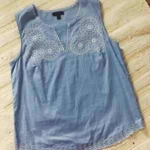 J Crew Periwinkle Tank with White Embroidery
